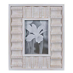 Danya B.™ 5-Inch x 7-Inch Carved Wood Tabletop Picture Frame in White
