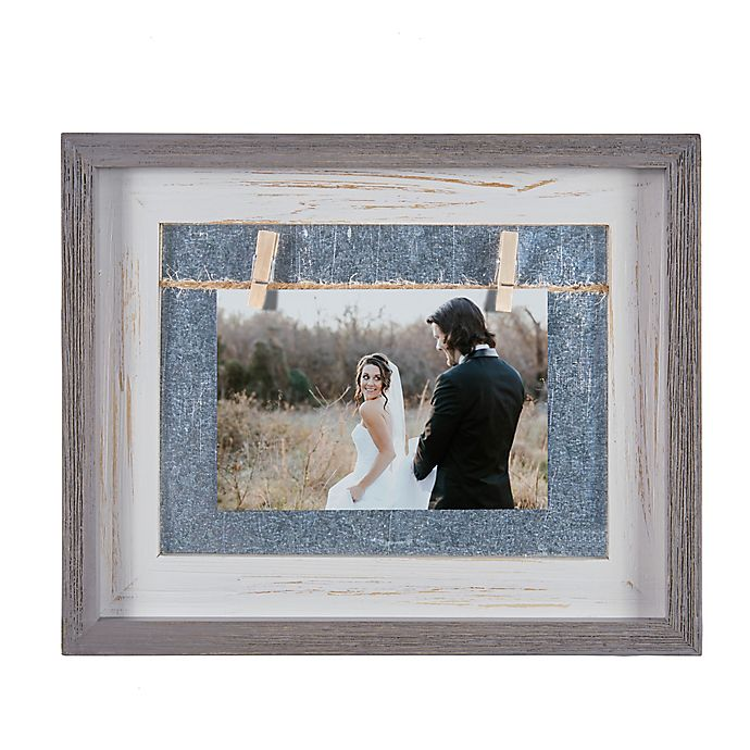 Alternate image 1 for Danya B.™ 4-Inch x 6-Inch Horizontal Wood Picture Frame in Grey/White