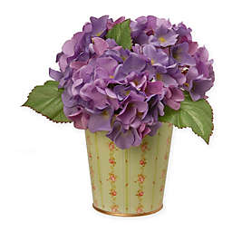 National Tree Company® 11-Inch Artifical Hydrangea in Purple with Tin Vase