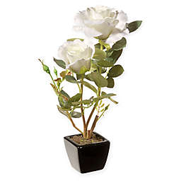 National Tree Company® 12.5-Inch Rose Artificial Flower with Ceramic Pot in White