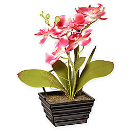 National Tree Company® 13-Inch Artificial Pink Orchid Planter with Tiered Square Pot