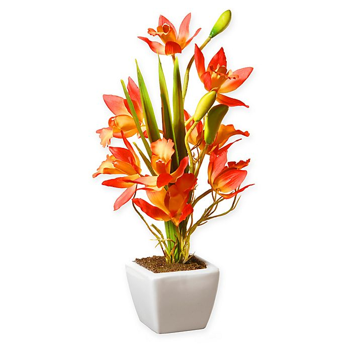 Alternate image 1 for National Tree Company® 13-Inch Artificial Orange Orchids Plant with White Ceramic Pot