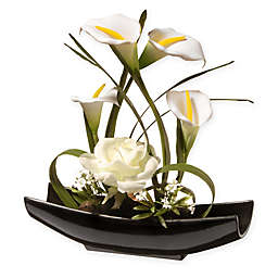 National Tree Company® 11-Inch Artificial White Rose and Calla Lily Flower Arrangement