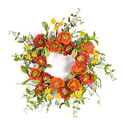 Melrose International 15.5-Inch Artificial Poppy and Pod Flower Wreath