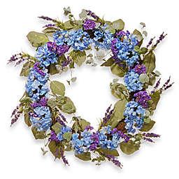National Tree Company® 32-Inch Hydrangea Artificial Wreath in Blue