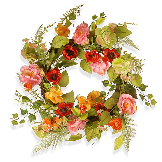 Alternate image 1 for National Tree Company® 22-Inch Spring Flower Artificial Wreath in Pink Multi