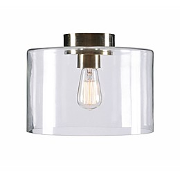 Kenroy Home Capri 1-Light Flush Mount Small in Antique Brass with  Glass Shade