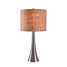 Kenroy Home Bulletin Accent Lamp in Brushed Steel with Natural Cork Drum Shade