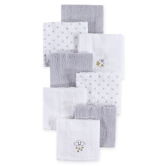 Alternate image 1 for Hudson Baby® 8-Pack Stars Woven Terry Washcloths in Grey