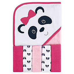 Luvable Friends® 6-Piece Panda Hooded Towel and Washcloth Set in Pink