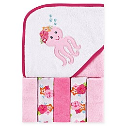 Luvable Friends® 6-Piece Tropical Octopus Hooded Towel and Washcloth Set in Pink
