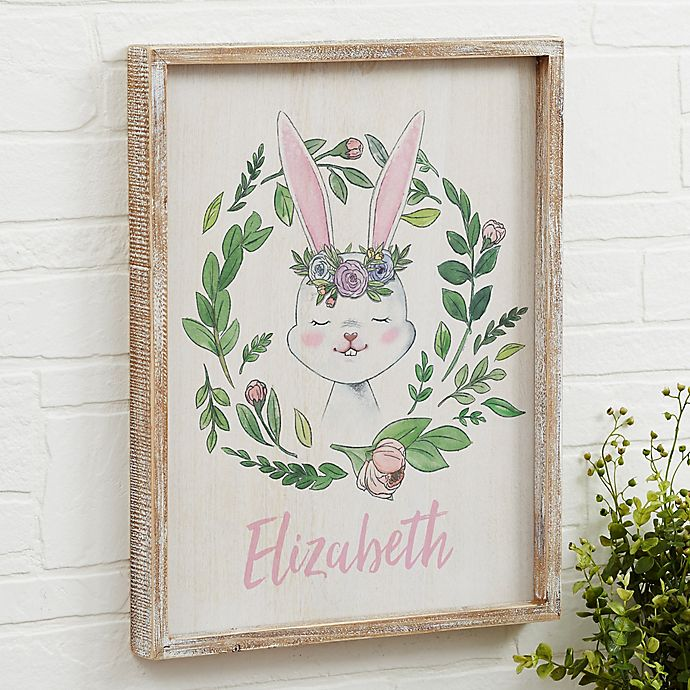 Alternate image 1 for Woodland Floral Bunny Barnwood Frame Wall Art