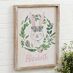 Woodland Floral Bunny Barnwood Frame Wall Art