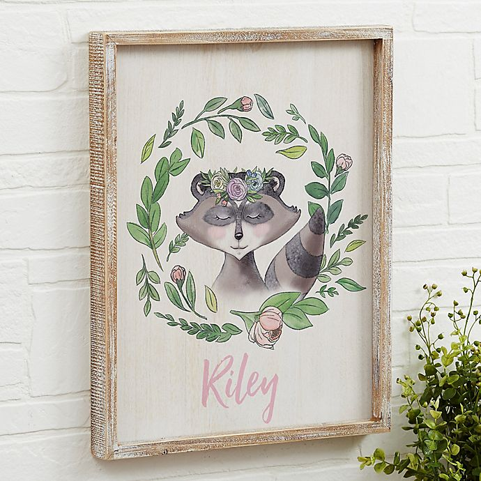 Alternate image 1 for Woodland Floral Raccoon Barnwood Frame Wall Art