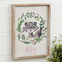 Woodland Floral Raccoon Barnwood Frame Wall Art