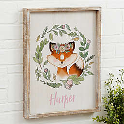 Woodland Floral Fox Barnwood Frame Wall Art