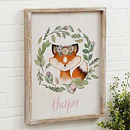 Woodland Floral Fox Barnwood Frame Wall Art