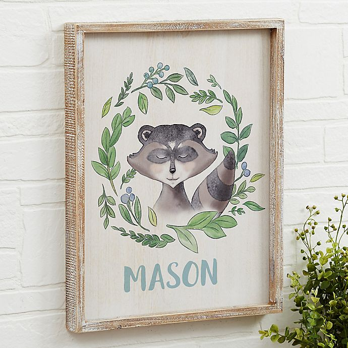 Alternate image 1 for Woodland Raccoon Barnwood Frame Wall Art