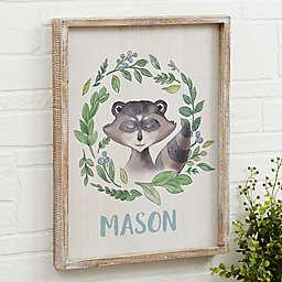 Woodland Raccoon Barnwood Frame Wall Art