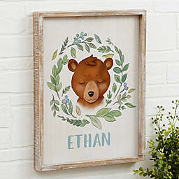 Woodland Bear Barnwood Frame Wall Art