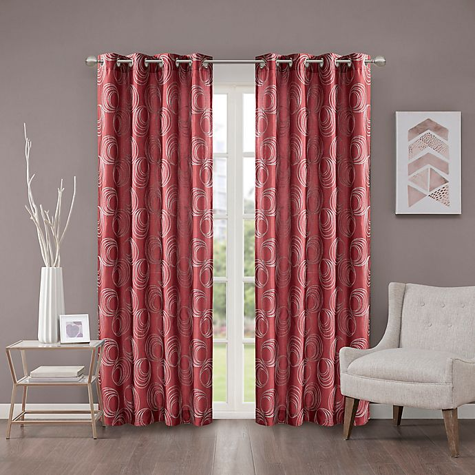 Alternate image 1 for Cosma 95-Inch Grommet Room Darkening Window Curtain Panel in Red