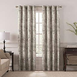 Chantal Printed 84-Inch Grommet Room Darkening Window Curtain Panel in Grey