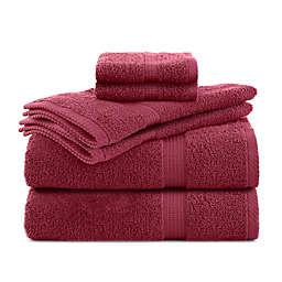 Utica Essentials 6-Piece Bath Towel Set in Soft Red