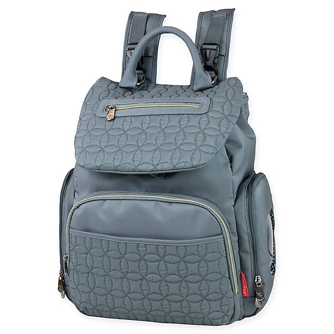 Alternate image 1 for Fisher-Price® Hayden Quilted Backpack Diaper Bag in Grey
