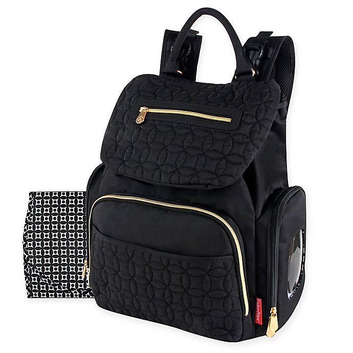 Alternate image 1 for Fisher Price® Hayden Quilted Backpack Diaper Bag in Black