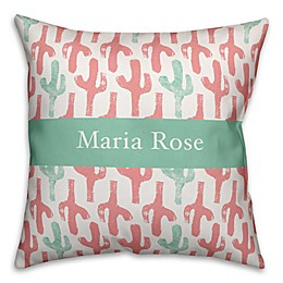 Designs Direct Cactus Print Throw Pillow in Pink/Teal