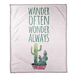 Designs Direct Wander Often Wonder Always Fleece Blanket in Pink