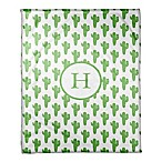 Designs Direct Watercolor Cactus Fleece Blanket in Green