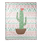 Designs Direct Aztec Cactus Fleece Blanket in Green
