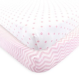 Luvable Friends® 2-Pack Chevron and Dots Fitted Crib Sheets in Pink