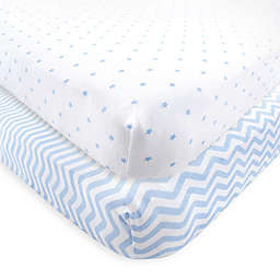 Luvable Friends® 2-Pack Chevron and Dots Fitted Crib Sheets in Blue