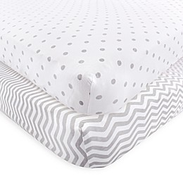 Luvable Friends® 2-Pack Chevron and Dots Fitted Crib Sheets in Grey