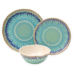 222 Fifth Sea Splash 12-Piece Dinnerware Set in Blue