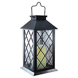 Solar Powered Black Tudor Lantern with LED Candle