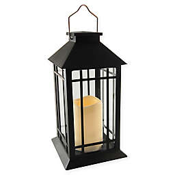 Solar Powered Black Lantern with LED Candle
