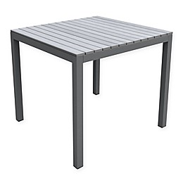 Armen Living Bistro Outdoor Patio Dining Table in Grey