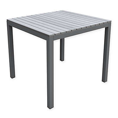 Armen Living Bistro Outdoor Patio Dining Table in Grey