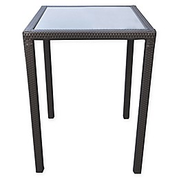 Armen Living® Tropez Wicker Patio Bar Table with Black Glass Top