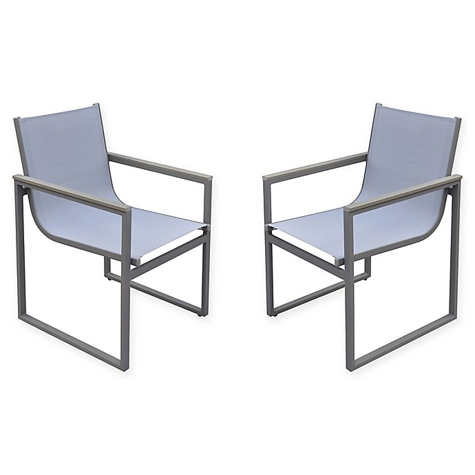 Alternate image 1 for Armen Living® Bistro Patio Dining Chairs in Grey (Set of 2)