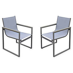 Armen Living® Bistro Patio Dining Chairs in Grey (Set of 2)