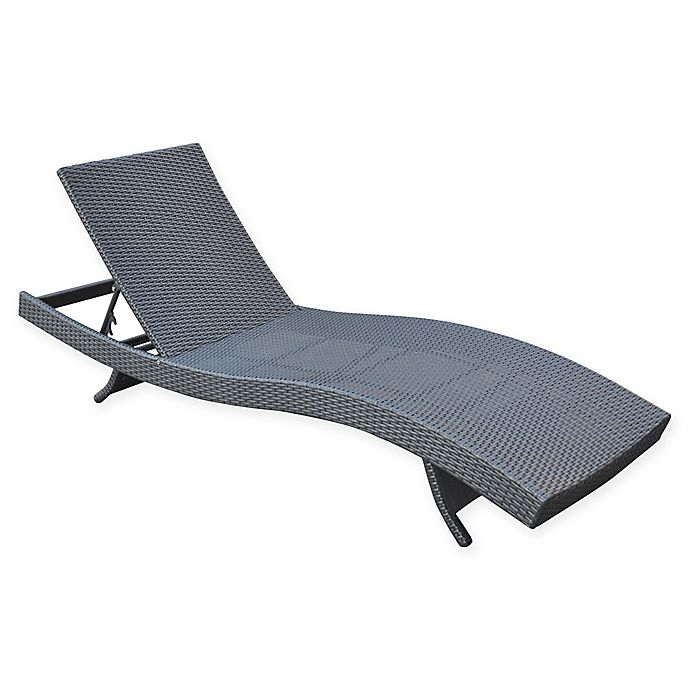 Alternate image 1 for Armen Living® Cabana Patio Wicker Chaise Lounge Chair in Black