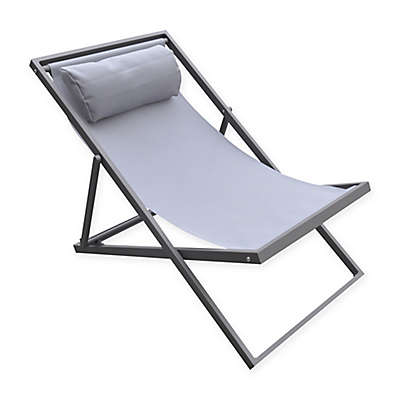 Armen Living Wave Deck Chair in Grey