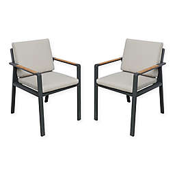 Armen Living Nofi Patio Dining Chair in Charcoal (Set of 2)