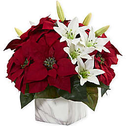 Nearly Natural 13-Inch Poinsettia and Lily in a Marble Vase