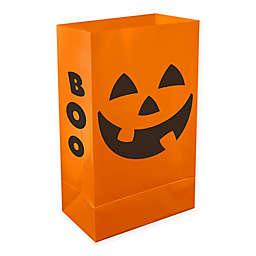Orange Jack O' Lantern Plastic Luminaria Bags (Set of 24)