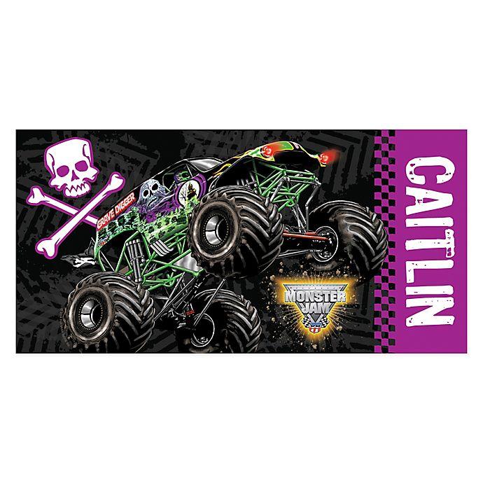 Alternate image 1 for Monster Jam® Grave Digger Beach Towel in Purple